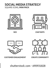 Social media strategy, square mini icon set. The illustrations are a vector, editable stroke, thirty-two by thirty-two matrix grid, pixel perfect files. Crafted with precision and eye for quality.