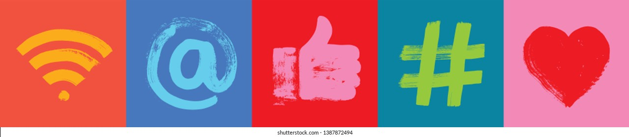 Social Media Symbols, Colorful Background, Grunge Texture, Wide Format, Snapchat, Social Media,  Color, Marketing, Influencer, Instagram Followers, Facebook likes, Digital Marketing, Banner, fun