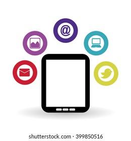 Social media and tablet design, vector illustration
