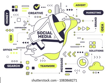 Social media technology concept. Vector creative illustration of communication with megaphone and tag cloud on white background. Thin line art style design with megaphone for web, banner, poster