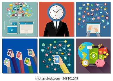Social media, technology, messaging and time management concept. Flat design, vector illustration