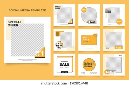 social media template banner blog fashion sale promotion. editable square post frame puzzle organic sale poster. fresh yellow element shape vector background