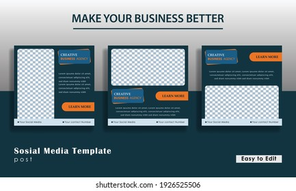 social media template in blue color, for creative business agencies, usable for social media, flyers, banners and web ads. Eps 10