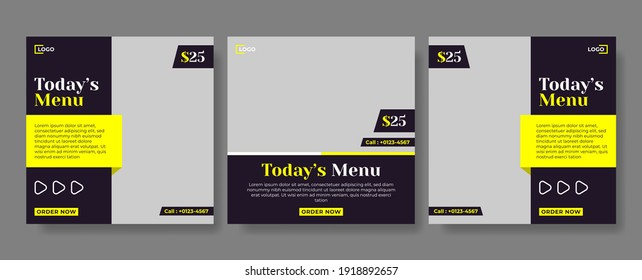 Social media template, culinary theme. Suitable for online stores in promoting a product or brand