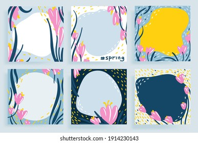 Social media template floral spring pattern hand drawn doodle style vector illustration