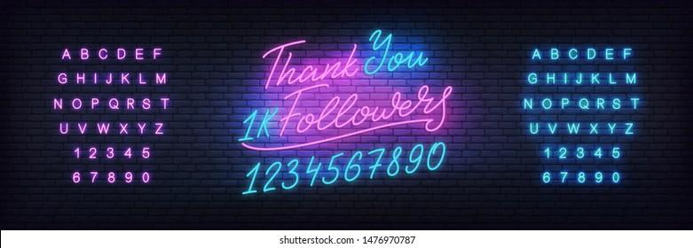 Social media template followers milestone. Followers Thank You neon. Congratulation design.