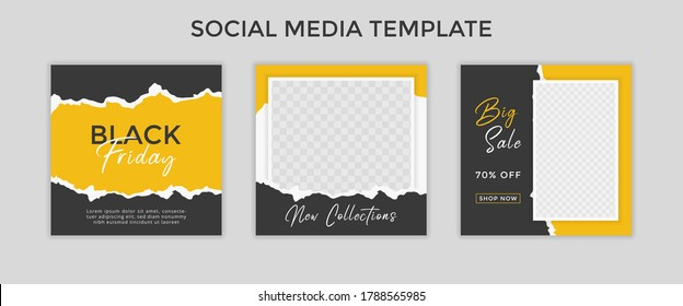 social media template post for promotion. template post for ads. design with yellow and black color.