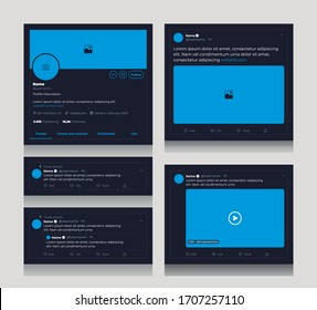 Social Media template for text, image and video tweets