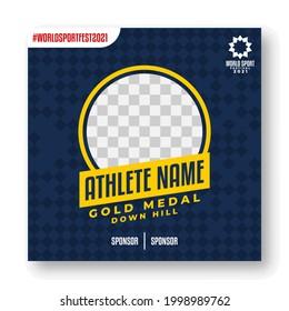 social media template for world sports festival. sport event gold medalist vector template.