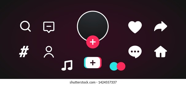 Social media templates modern design buttons web application. Set icons: search, story, like, share, hashtag, user, comment, note, home, plus. Mockup web symbols, app, ui. Vector illustration. EPS 10