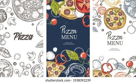 Social media templates. Set of pizza ingredients. Pizza, basil, cheese, tomatoes, mozzarella, paprika. Italian cuisine. Vintage graphics.
