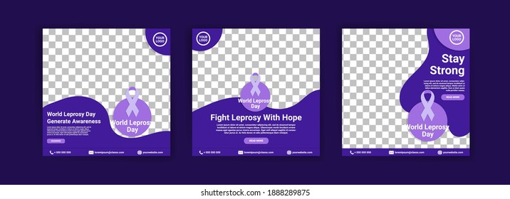 Social media templates for world leprosy day. Fighting leprosy with hope. Stay strong for healing.