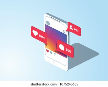 Social Media theme. Communication in social networks. Image of mobile phone with message icons, likes and subscribers. 3d isometric design. Perfect for banner, website and promotional materials.