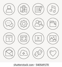 Social Media thin line icon set