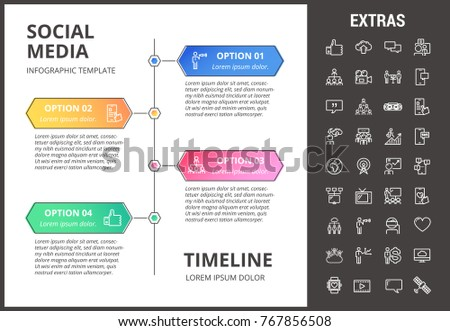 Social Media Timeline Infographic Template Elements Stock Vector ...
