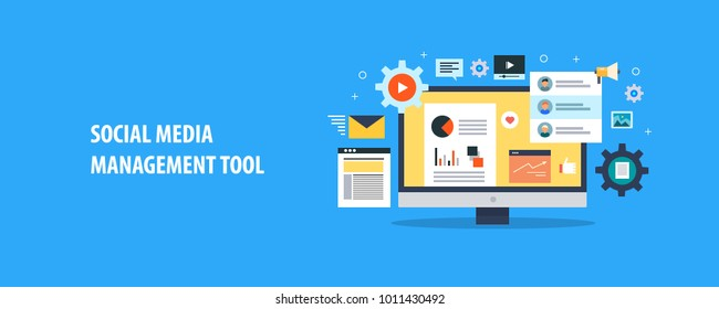 Social media tool, Social media management, Social data flat vector concept with icons