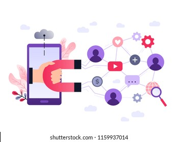 Social media ultra violet concept vector illustration with magnet engaging followers and likes. Influence marketing or viral advertising campaign. Audience or customer retention strategy.
