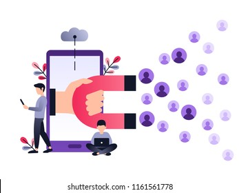 Social media ultra violet concept vector illustration with magnet engaging followers and likes. Inbound marketing or customer retention strategy. Small people with laptop and smartphone.