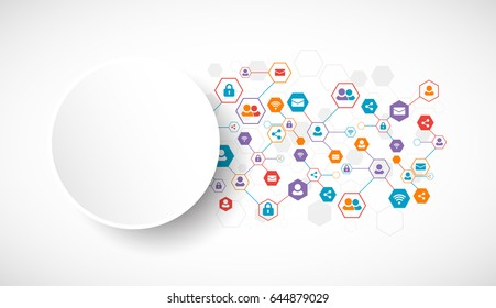Social media vector background. Technology network concept.