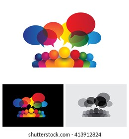 social media vector icon of communication or staff meeting or kids talking. this also represents people conference, social media interaction & engagement, children, employee discussions, leadership