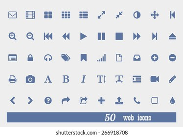 Social media vector icons set for multimedia, mobile and web