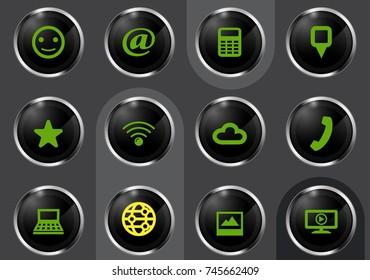 Social media vector icons for user interface design