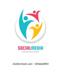 Social media - vector logo template concept illustration. Human character abstract sign. Happy people family symbol. Teamwork partnership. Design element.
