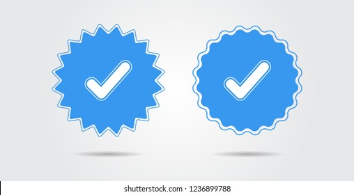 Social media verified badge. Verified icon stamp. Star shape Vector illustration