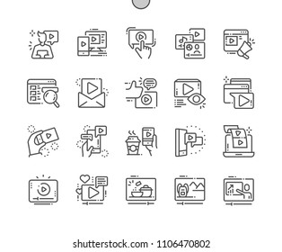Social media video Well-crafted Pixel Perfect Vector Thin Line Icons 30 2x Grid for Web Graphics and Apps. Simple Minimal Pictogram