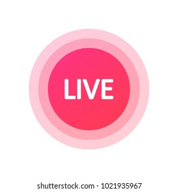 Social media vk, icon LIVE video streaming. Red LIVE video button, symbol, sign, ui, app. Vector illustration. EPS 10.