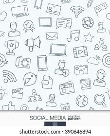 Social Media wallpaper. Network communication seamless pattern. Tiling textures with thin line web icons set. Vector illustration. Abstract background for mobile app, website, presentation.
