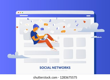 Social media webpage concept vector gradient illustration of young man sitting in the page using laptop for reading news, sharing memes. Flat people addicted to networks and online chat communication