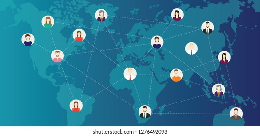 social media world connected people with line connecting around the world on top of world maps - vector illustration
