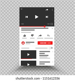 Social media YouTube, video channel, interface, app mobile phone. Vector illustration. EPS 10