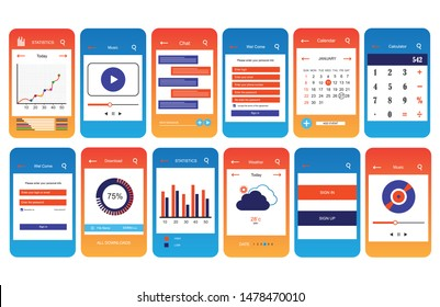 Social Mobile App Design Kit - pixel precise layered vector-based GUI - ready for use