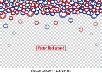 Social nets blue thumb up like and red heart floating web buttons isolated on transparent background. Like and heart icons for live stream video chat likes falling background vector design template.