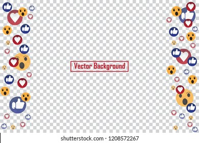Social nets blue thumb up like and red heart floating web buttons isolated on transparent background. Like, smile and heart icons for live stream video chat likes falling background vector template