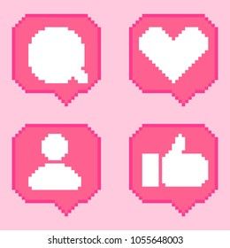 Social network 8 bit pixel art pink icons pack. Like, comment, follow, thumb-up. Notification set with heart, user, speech bubble, human hand.
