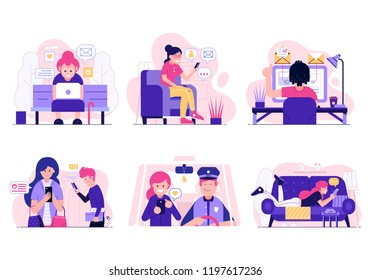 Social network activity and web surfing concept illustrations. Scenes with people using gadgets and devices at home, office and street. Smiling men and women chatting, sharing and sending messages.