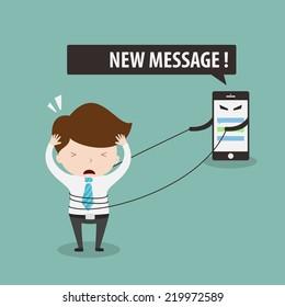 Social network addiction,Vector EPS 10.
