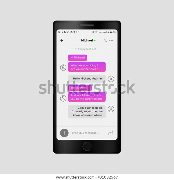 Social Network Chat Concept Messenger Application Stock Vector