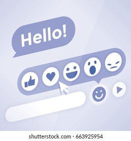 Social network chat message Hello! with emoticons buttons - thumbs up, heart, smile and mouse cursor. Idea - Online messaging and relationships.