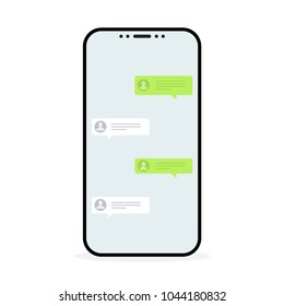 Social network concept. Chat messages notification in smartphone. Vector illustration