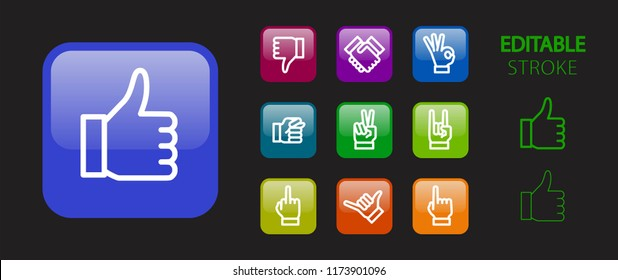 Social network concept. Hand gesture buttons. 3d icon set. Glossy colorful website icons. Editable stroke. Vector illustration.