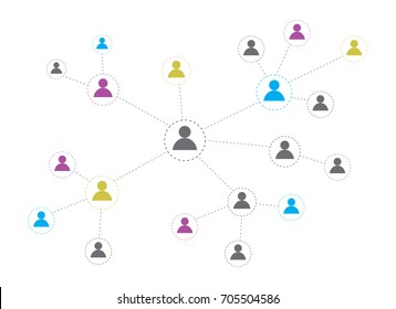 Social network concept on white background. Info-graphic design. communication system.in flat design ,Vector illustration