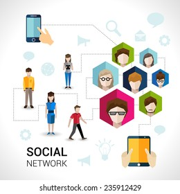 Social network concept with people avatars in hexagon shape and mobile devices elements vector illustration