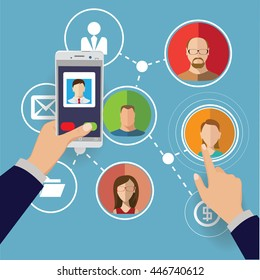 Social network concept vector illustration with people faces.
