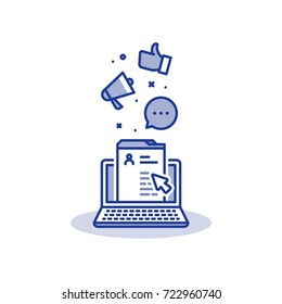 Social network concept, web page and laptop, thumbs up and megaphone, social media marketing, content management, personal profile, online communication, public relations, site development vector icon