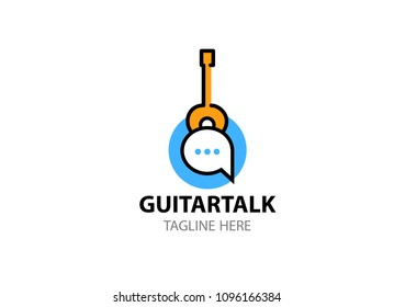 Social network or conference about guitar music. Vector logo template in EPS 10. Internet community logotype.