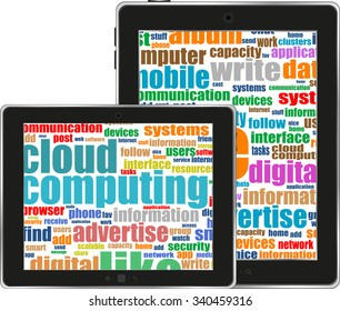 social network and connected words on touchscreen tablet pc with finger touching screen. Raster vector illustration